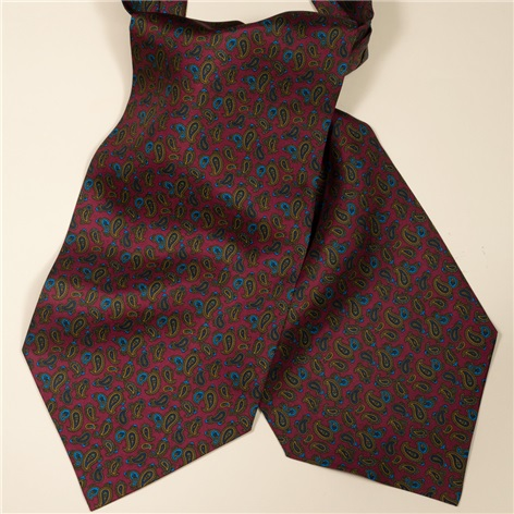 Silk Printed Small Paisley Ascot in Cranberry