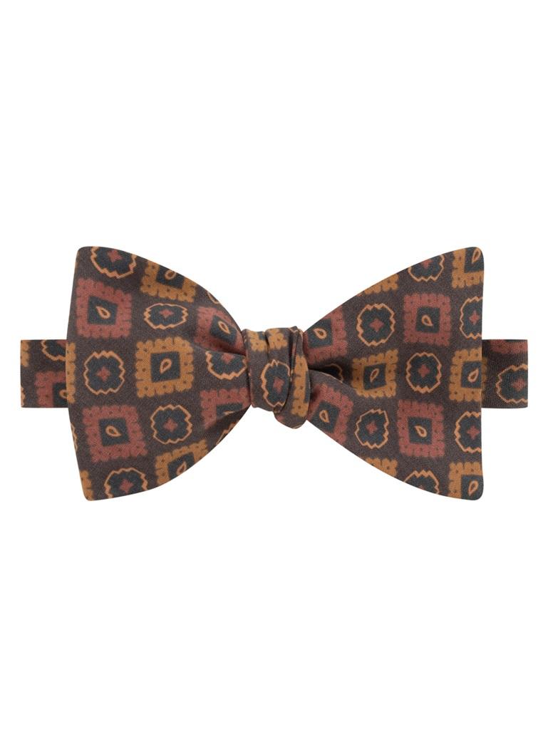 Silk Geometric Motif Bow Tie in Mocha