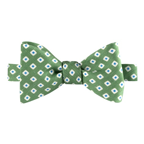 Silk and Linen Square Motif Printed Bow Tie in Lime