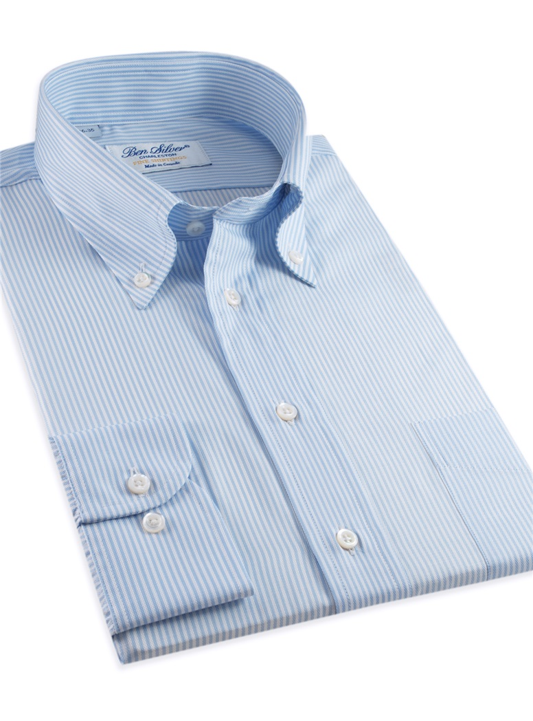 170's Blue & White Bengal Stripe Button Down