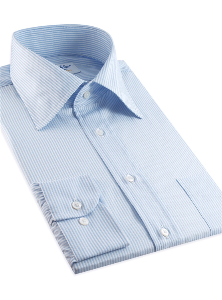 170's Blue and White Bengal Stripe Kelly Collar