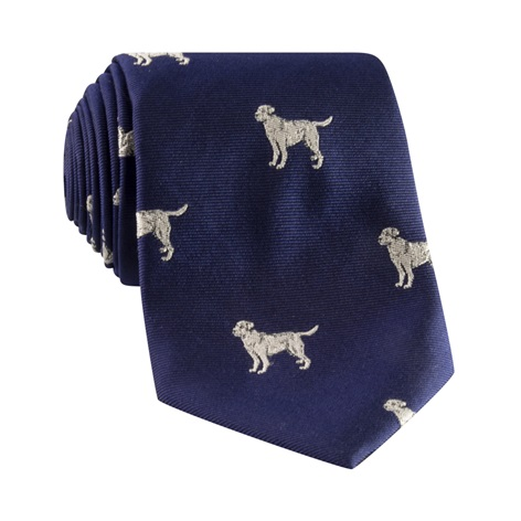 Jacquard Woven Lab Motif Tie in Navy and Silver