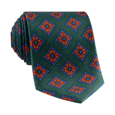 Silk Diamond Motif Tie in Forest