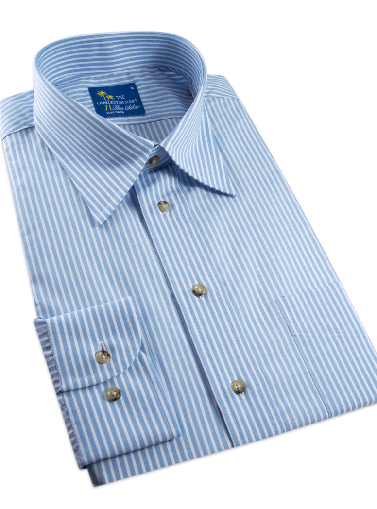 Sky and White Stripe Charleston Shirt in Linen & Cotton