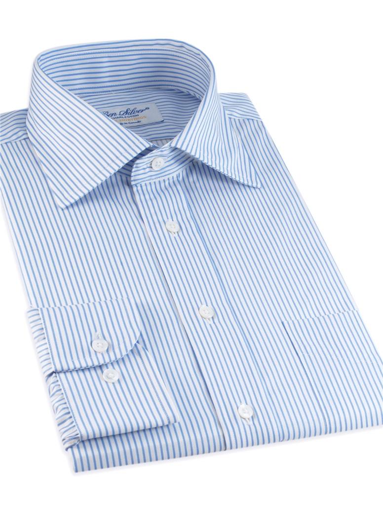 White & Blue Narrow Stripe Twill Spread Collar