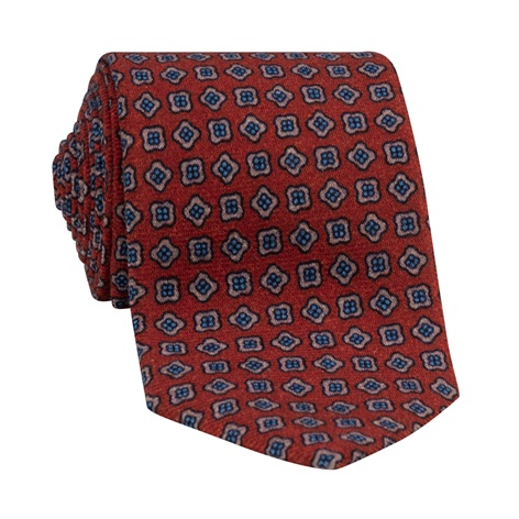 Wool Neat Printed Tie in Brick