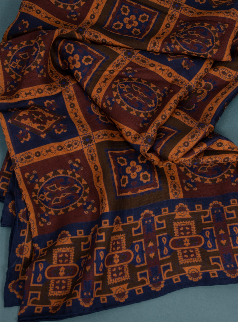 Wool and Silk Printed Scarf in Burgundy and Amber