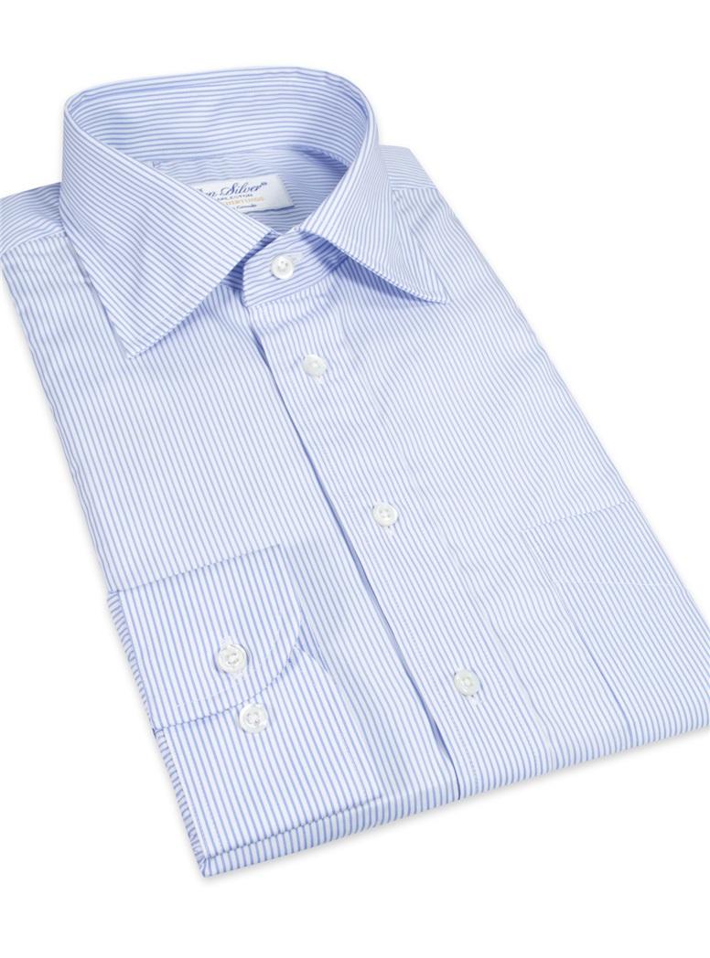 Shirt Travel Cotton Blue Stripe Spread