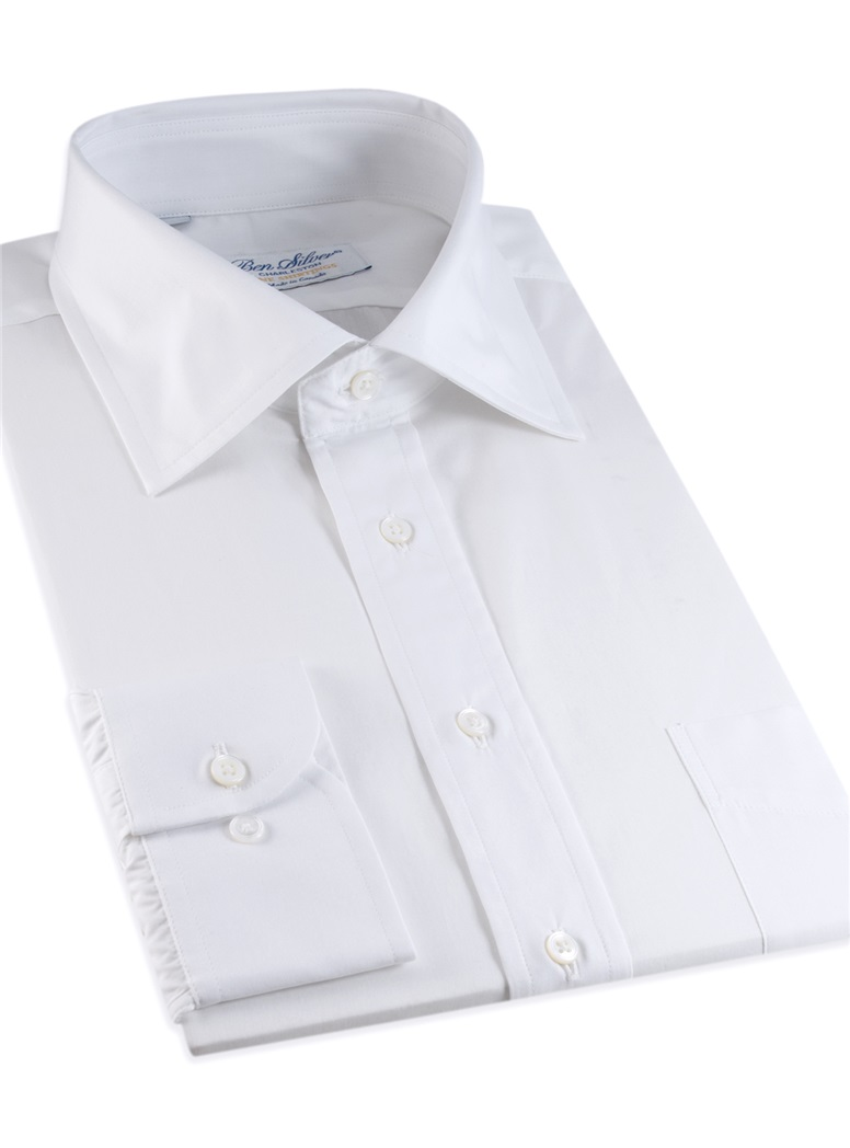 Classic White Twill Spread Collar