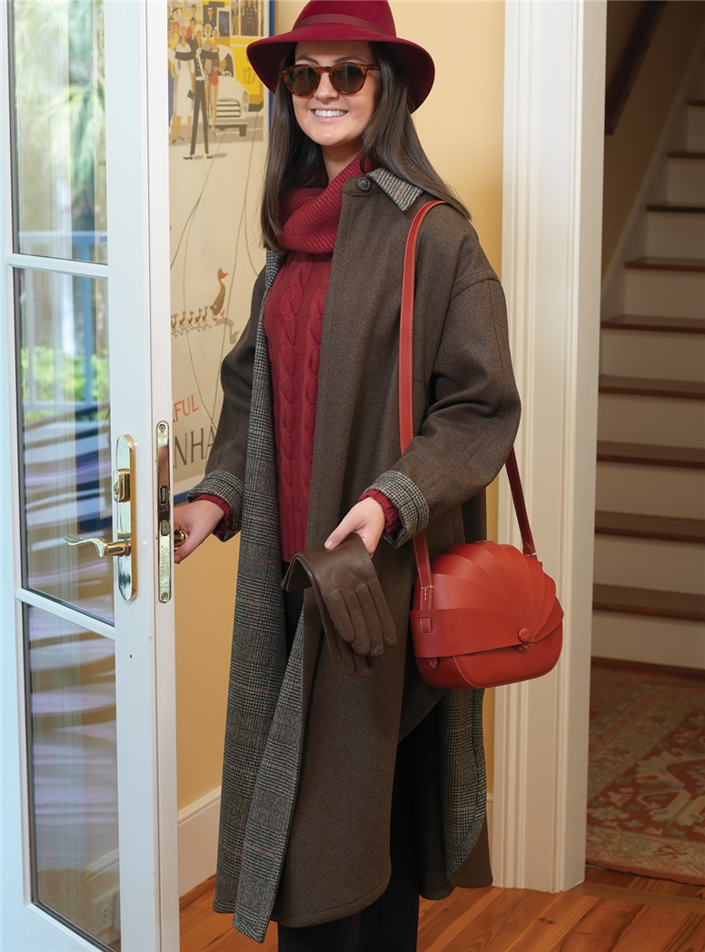 Ladies Wool Double-Faced Cape in Chocolate Mélange