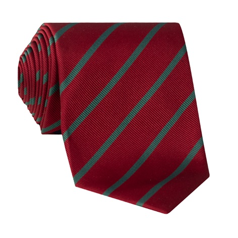 Silk Bar Stripe Tie in Ruby