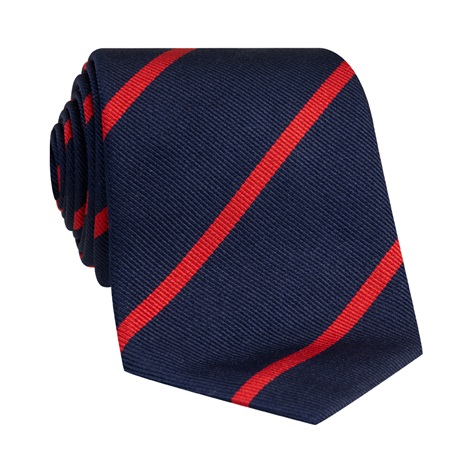 Silk Bar Striped Tie in Navy with Red