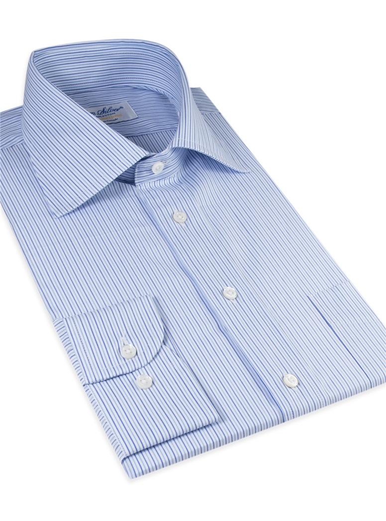 Sky and Denim Blue Narrow Stripe Spread Collar