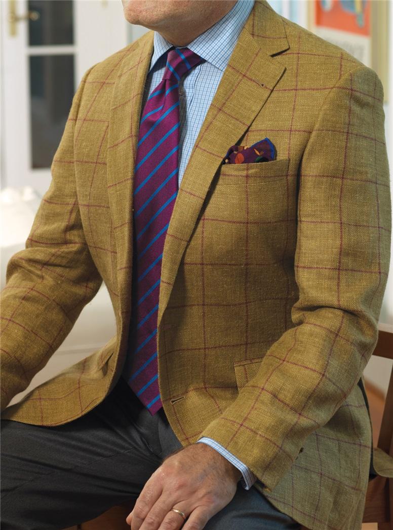 Tobacco Silk & Linen Sport Coat with Burgundy Windowpane