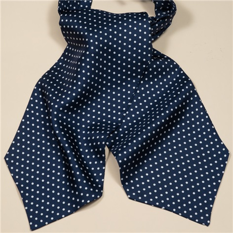 Silk Printed Dots Ascot in Navy & White