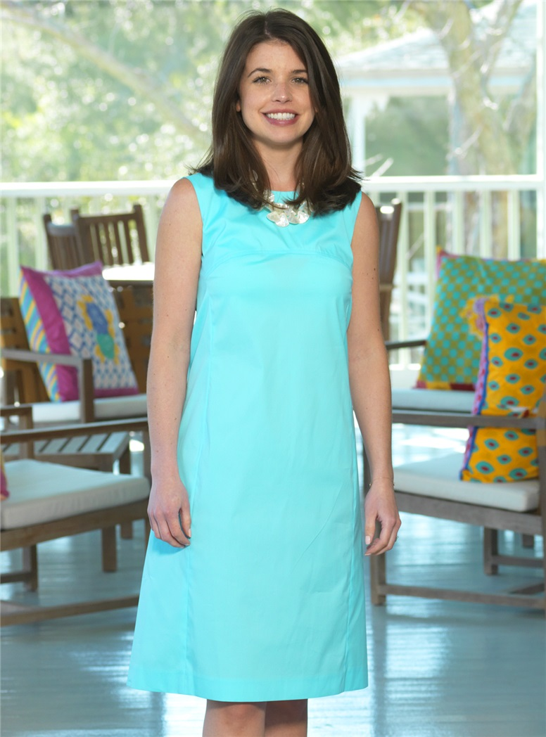 Ladies Cotton Shift Dress in Aqua