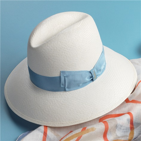 Ladies Fine Panama Hat with Sky Band