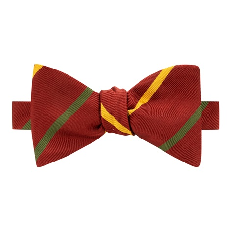 Mogador Double Bar Striped Bow Tie in Ruby