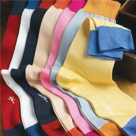 Sea Island Cotton Pique Knit Mid-Calf Socks