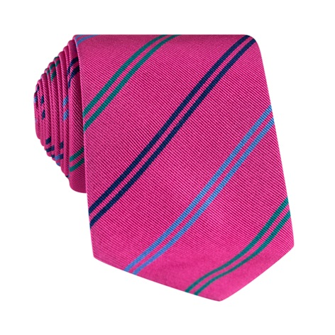 Silk Double Stripe Tie in Azalea
