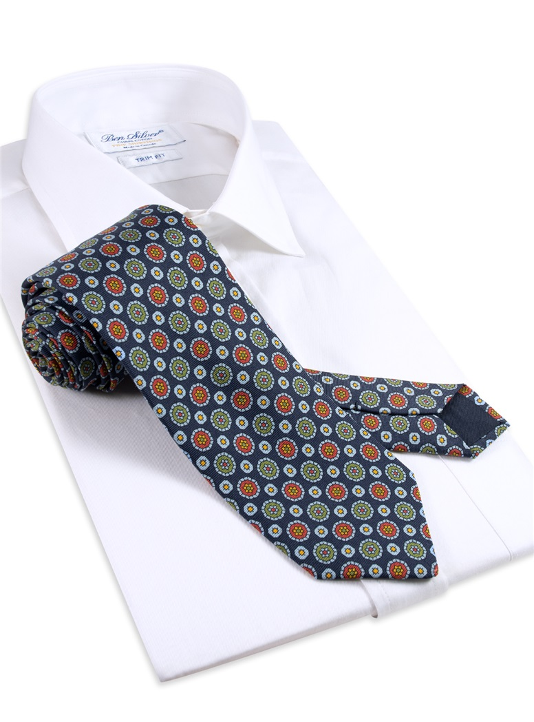 Silk Neat Print Tie in Navy