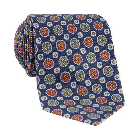 Silk Neat Printed Tie in Navy