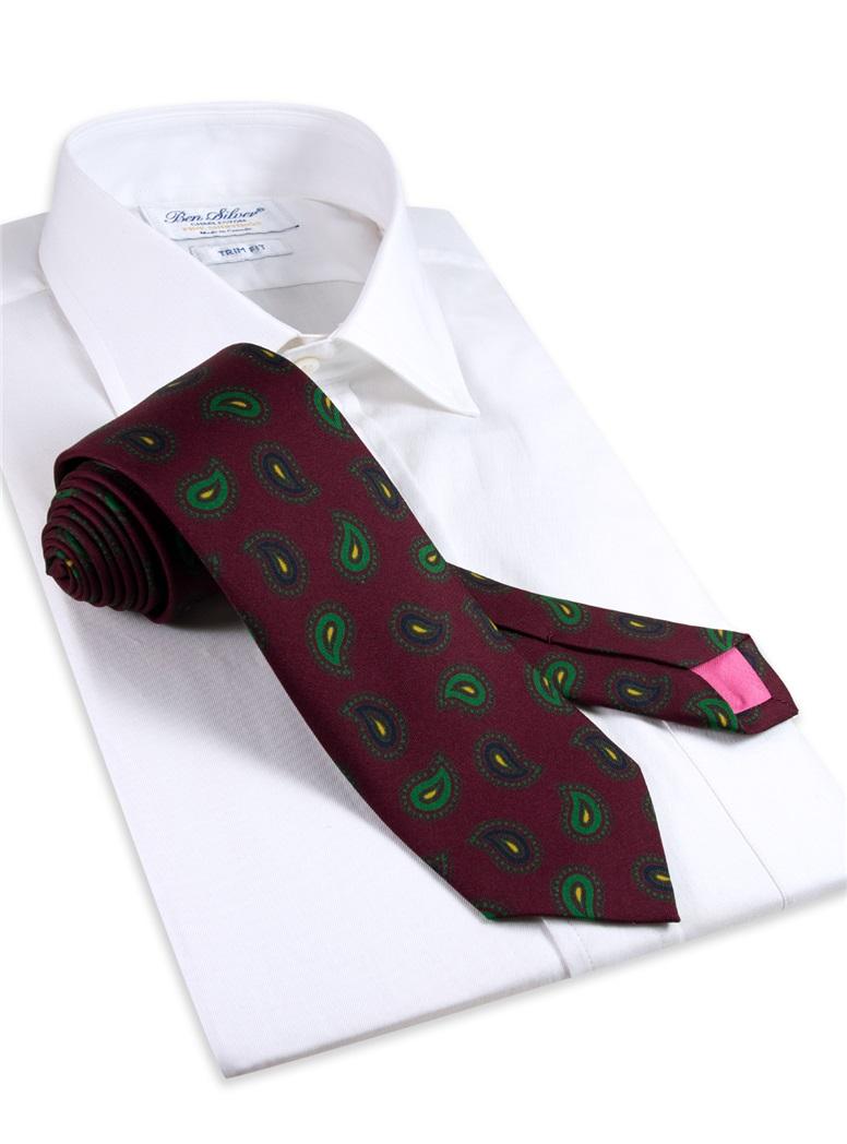 Silk Paisley Printed Tie in Wine