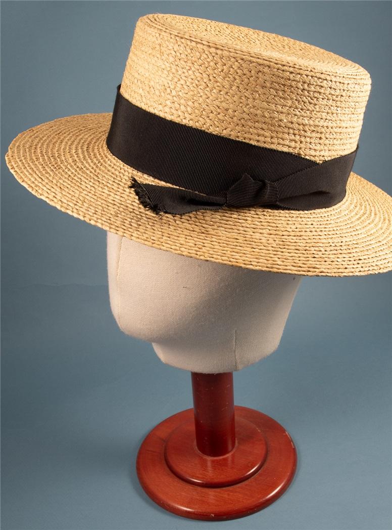 Ladies Straw Boater Hat Black Ribbon