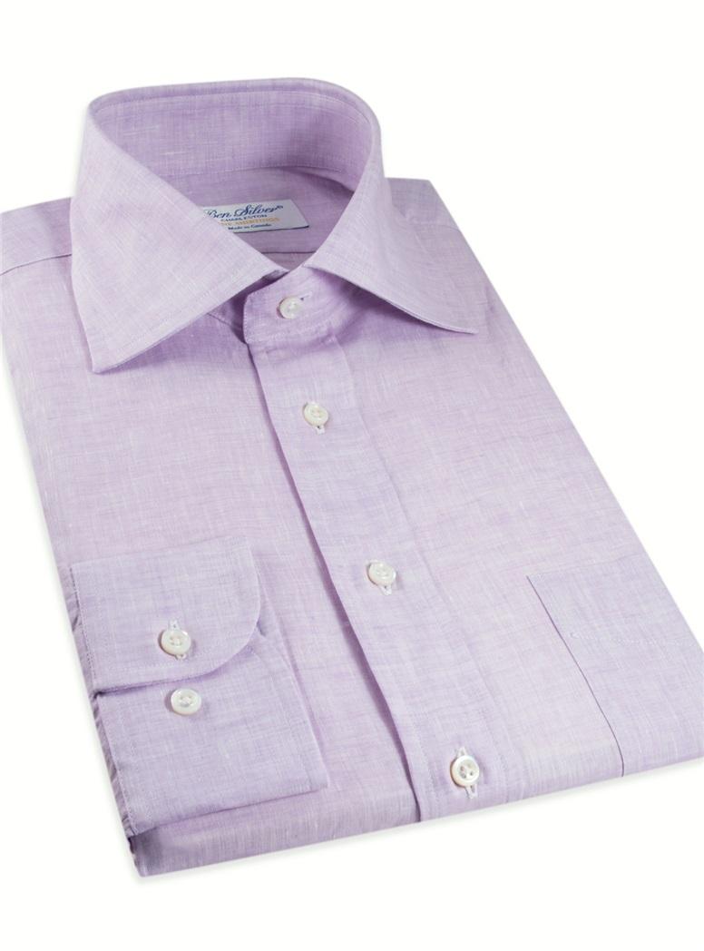 Lilac Linen Spread Collar