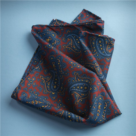 Silk Paisley Printed Pocket Square in Wine