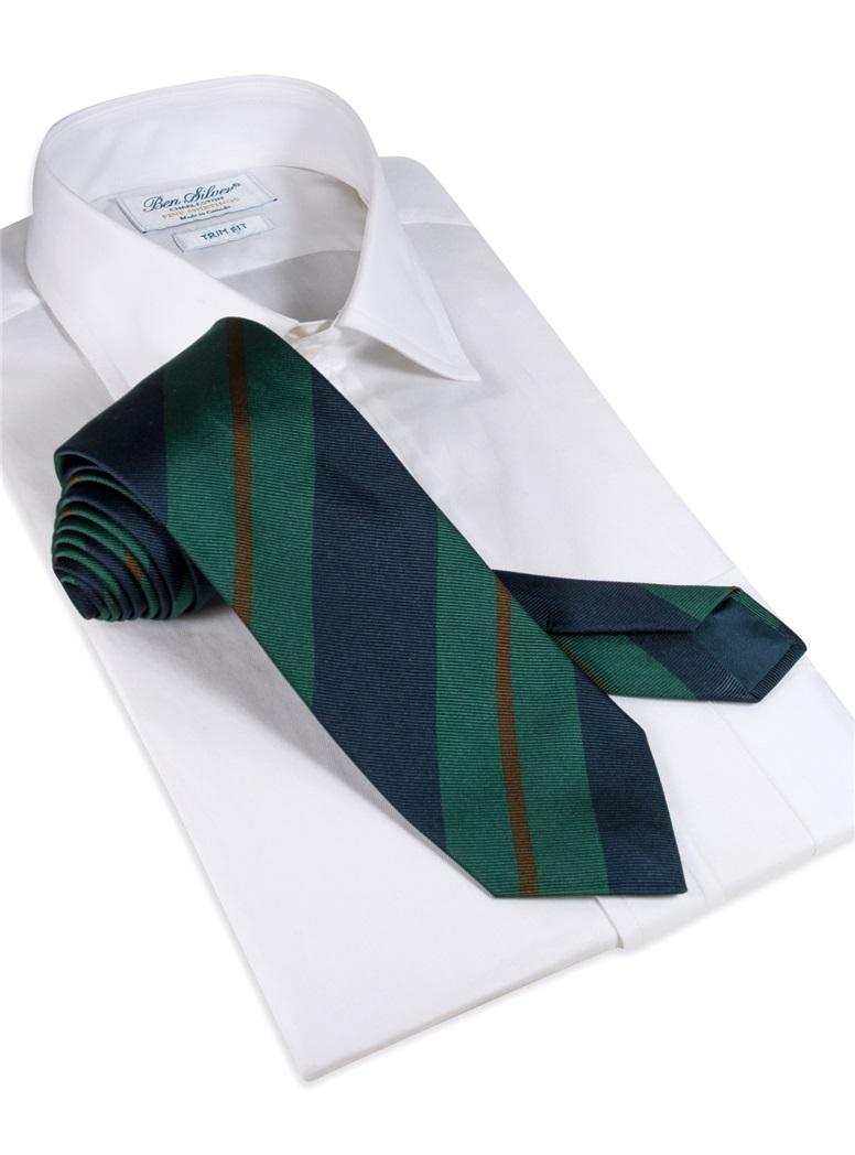 Silk Multi-Stripe Tie in Forest