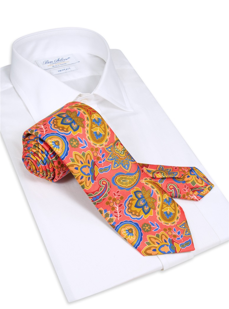 Floral Paisley Tie in Coral