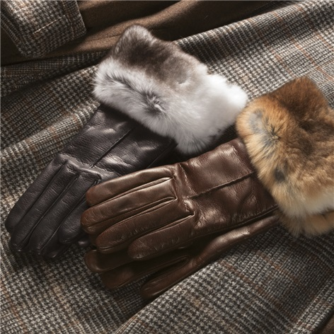 Nappa Leather Rabbit Fur Trimmed Gloves
