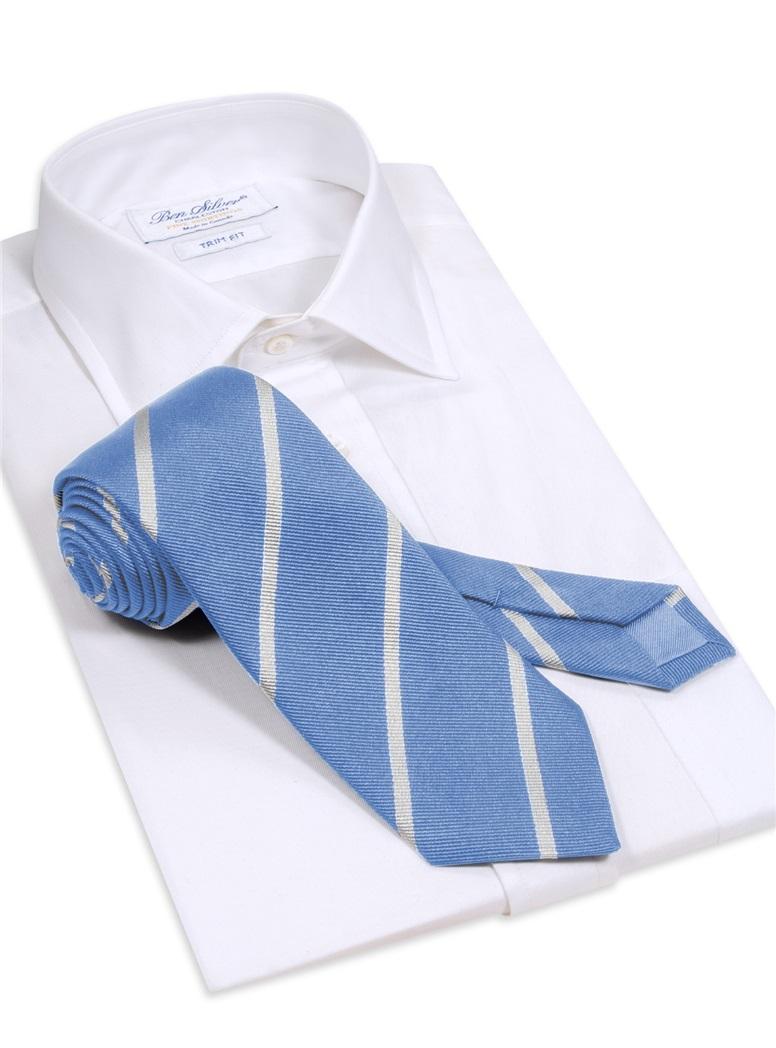 Silk Bar Striped Tie in Sky with White