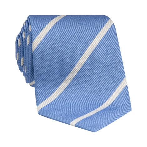 Silk Bar Striped Tie in Sky with White