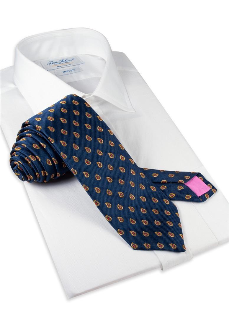 Silk Woven Paisley Tie in Navy