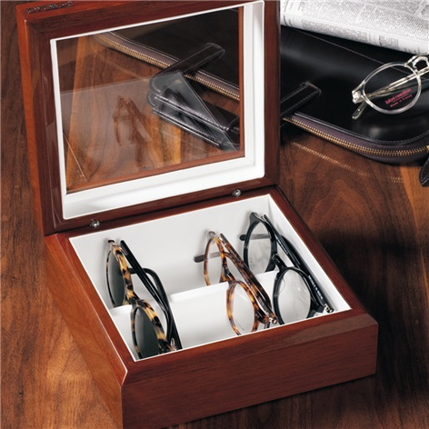 Smaller Eyewear Chest in Mahogany Finish