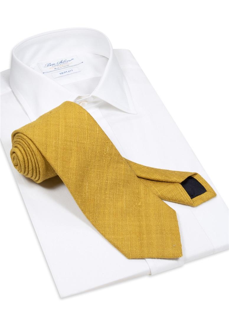 Silk Shantung Tie in Gold