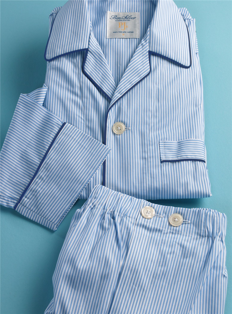 Bengal Stripe Pajamas in Sky and White with Navy Piping