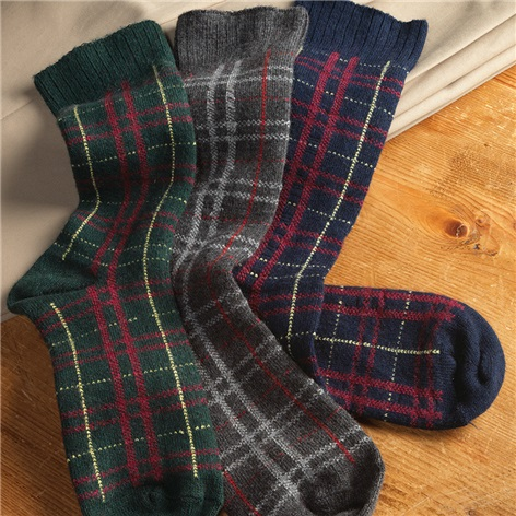 Cashmere Blend Plaid Socks
