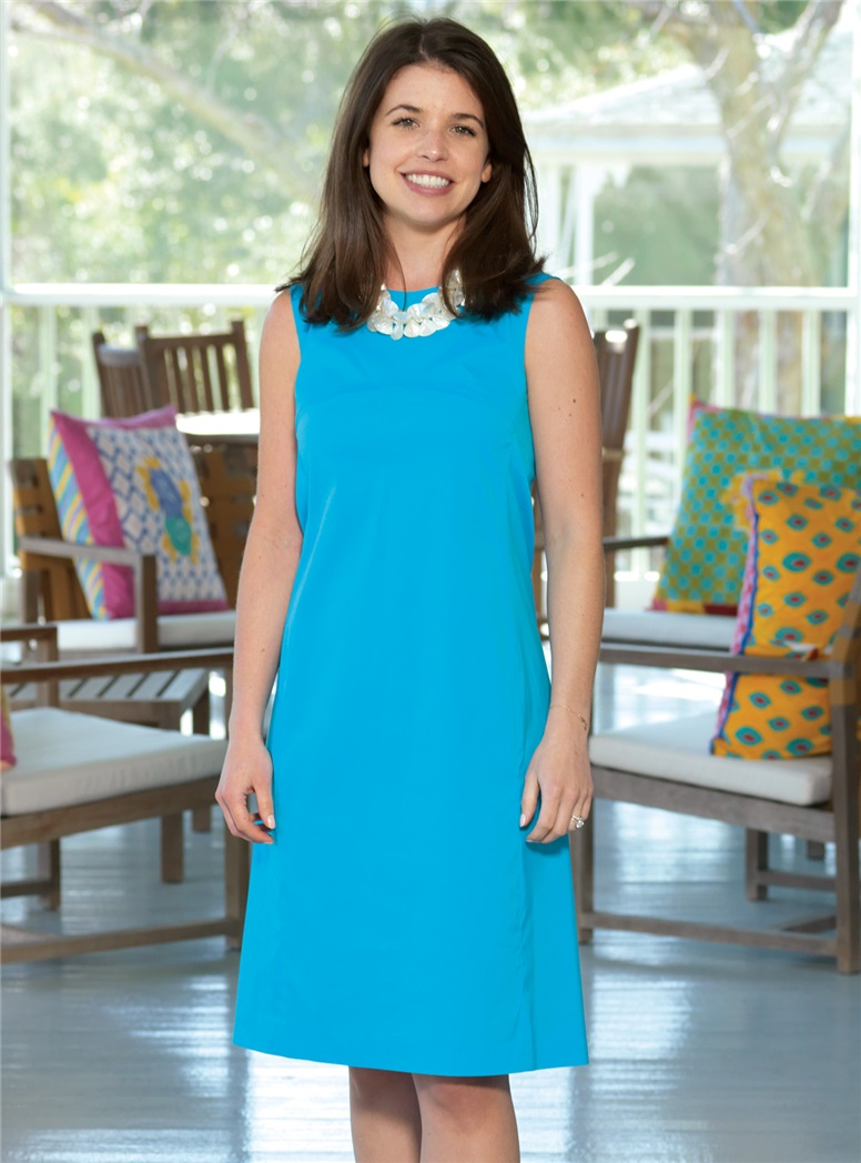 Ladies Cotton Shift Dress in Caribbean