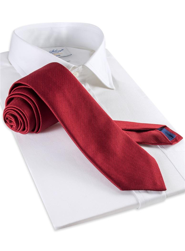 Mogador Silk Solid Signature Tie in Brick