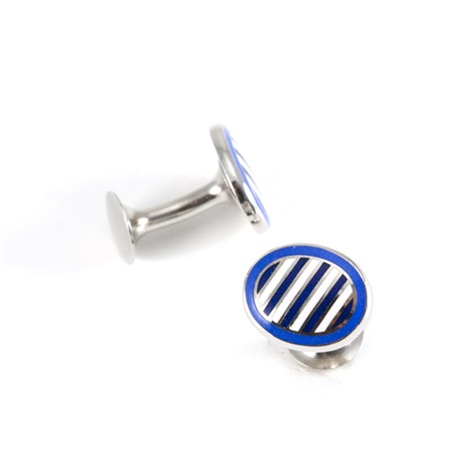 Oval Cufflinks in Lapis with Navy and White Stripes