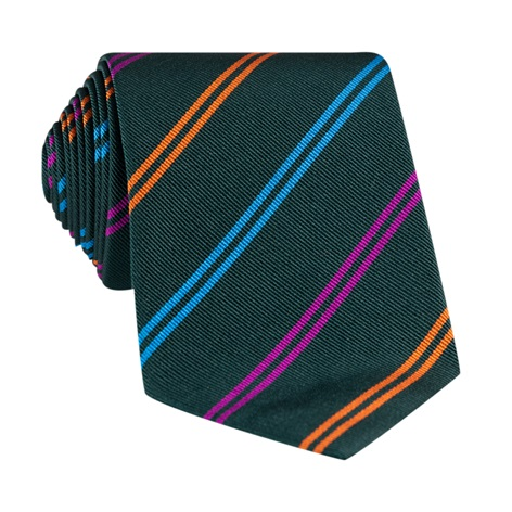 Silk Double Stripe Tie in Forest
