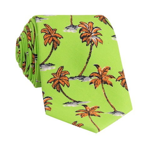 Silk Printed Palm Tree Tie in Lime