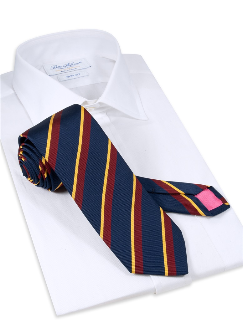 Mogador Silk Double Stripe Tie in Navy