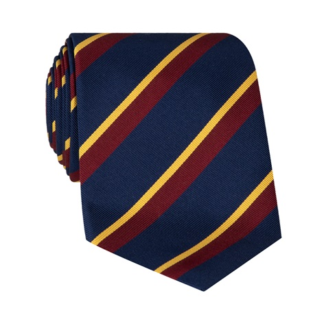 Mogador Silk Double Stripe Tie in Navy