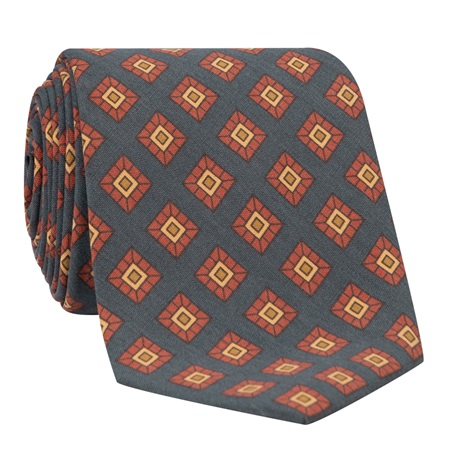 Silk Diamond Printed Tie in Navy