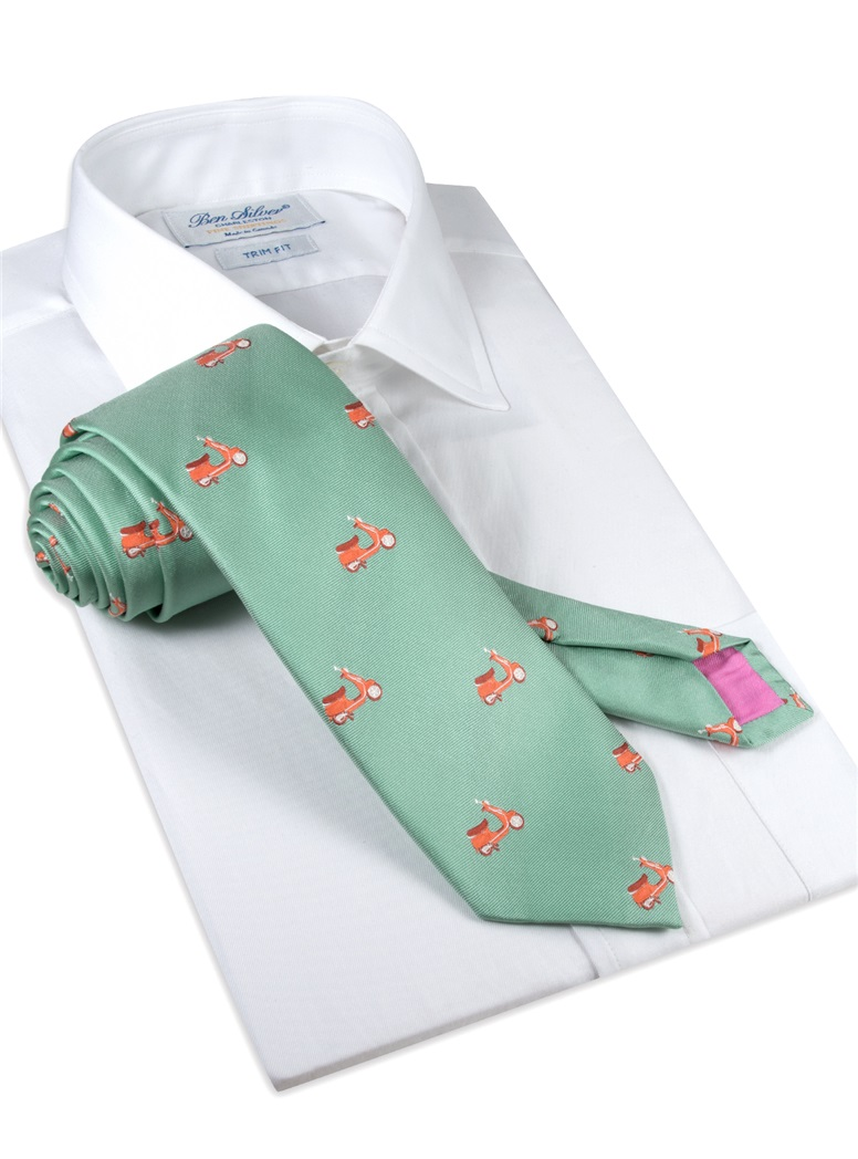 Jacquard Woven Scooter Tie in Sage