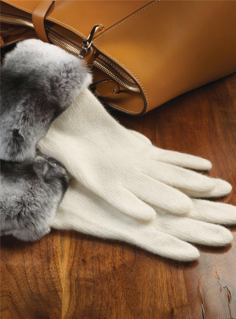 Cashmere Fur Trimmed Gloves in Cream